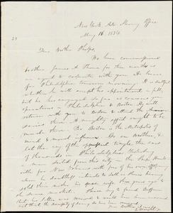 Letter from Elizur Wright, New York, to Amos Augustus Phelps, 1834 May 16