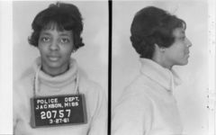 Mississippi State Sovereignty Commission photograph of Ethel Sawyer following her arrest for her participation in a sit-in at a library in Jackson, Mississippi, 1961 March 27