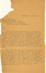 Letter from W. E. B. Du Bois to Pacific International Exposition