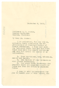 Letter from W. E. B. Du Bois to T. W. Turner