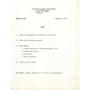 Citywide Educational Coalition agenda and meeting notes, December 10, 1973.