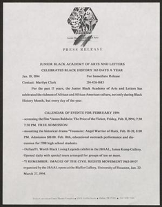 Press release: Junior Black Academy of Arts and Letters Celebrates Black History 365 Days a Year