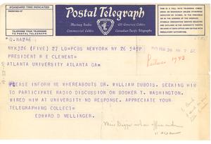 Telegram from Columbia Broadcasting System to Atlanta University