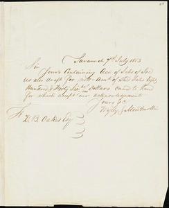 Wylly & Montmollin, Savannah, Ga., manuscript letter signed to Ziba B. Oakes, 7 July 1853