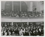 View of congregation at Abyssinian Baptist Church, in Harlem, New York City, attending service for visiting Ethiopian Emperor Haile Selassie I, 1954