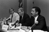 Ron J. Crawford, Albert Brewer, and James C. White listening to testimony during a meeting of the Tax Reform Study Commission at the Chamber of Commerce auditorium in Huntsville, Alabama.