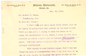 Letter from W. E. B. Du Bois to Alfred Holt Stone