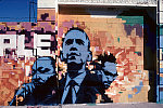 MLK Jr., Malcolm X, and Barack Obama mural at Faith in Christ Ministries, 46th Street at S. Western Ave., Los Angeles, California, 2010