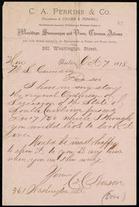 Letter from C. C. Nason, 361 Washington St., Boston, [Mass.], to William Lloyd Garrison, Oct. 7, 1878
