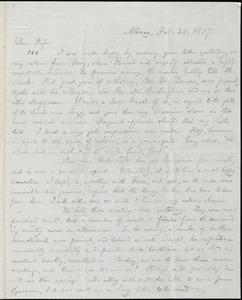 Letter from William Lloyd Garrison, Albany, [NY], to Helen Eliza Garrison, Feb. 21, 1857