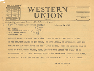 Telegram from W. E. B. Du Bois to Pittsburgh Courier