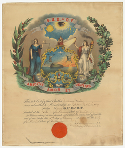 Membership certificate issued by Golden Gate Lodge, No. 2007, to William Wesley, 1888 February 15