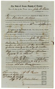 Documents pertaining to the case of The State of Texas vs. John B. Rein, cause no. 368, 1853