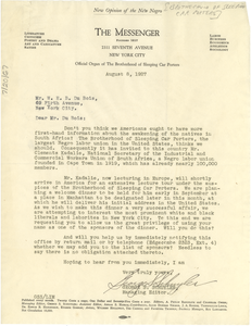 Letter from Brotherhood of Sleeping Car Porters to W. E. B. Du Bois