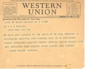 Telegram from James Weldon Johnson to W. E. B. Du Bois