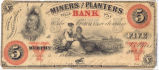 Miners and Planters Bank five-dollar note, 1860