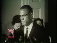 WSB-TV newsfilm clip of Malcolm X condemning the federal government for not protecting African commenting on violence in Birmingham, Alabama, 1963 May 16