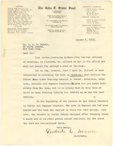 Letter from John F. Slater Fund to W. E. B. Du Bois
