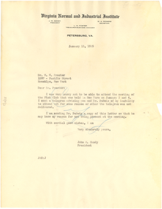 Copy of letter from John M. Gandy to H. H. Proctor