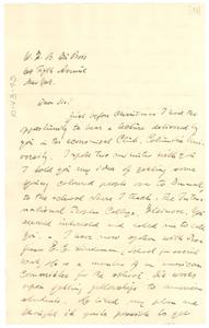 Letter from Johannes Novrip to W. E. B. Du Bois