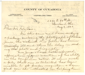 Letter from Pearl Mitchell to W. E. B. Du Bois