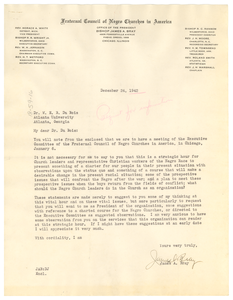 Letter from Fraternal Council of Negro Churches in America to W. E. B. Du Bois