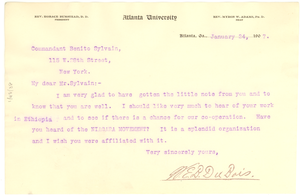 Letter from W. E. B. Du Bois to Benito Sylvain