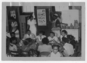 Photograph of African American students in home economics class, Manchester, Georgia, 1953