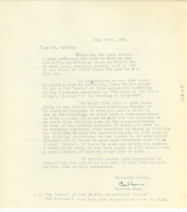 Letter from Carlton Moss to W. E. B. Du Bois