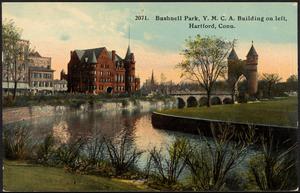 Bushnell Park, Y.M.C.A. building on left, Hartford, Conn.