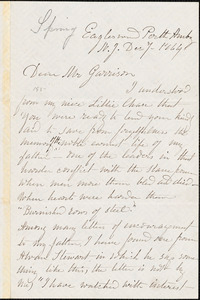 Letter from Rebecca Buffum Spring, Eagleswood, Perth Amboy, N[ew] J[ersey], to William Lloyd Garrison, 1864 Dec[ember] 7