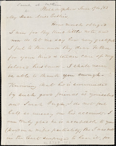 Letter from Sarah Allibone Speakman McKim, Philadelphia, [Pennslyvania], to Mary Anne Estlin, 1853 June 17th