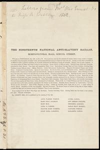 Letter from Anne Warren Weston to Mary Anne Estlin, [1852?]