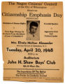 Flier for Citizen Emphasis Day featuring Elreta Alexander