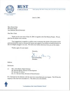 Letter from Rust College to Gloria Xifaras Clark
