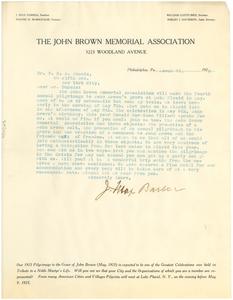 Letter from The John Brown Memorial Association to W. E. B. Du Bois