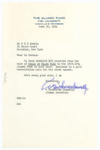 Letter from Fisk University Alumni Association to W. E. B. Du Bois