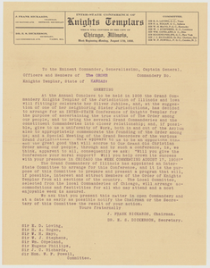 Letter from the committee of the Inter-State Conference of Knights Templars, about 1908