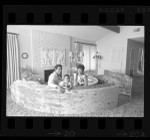 Football player O.J. Simpson, his wife Marguerite and daughter Arnelle at home in Bel-Air, Calif. home, 1970