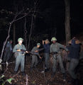 Soldiers on a nighttime military exercise at the U.S. Army training facility at Fort McClellan near Anniston, Alabama.