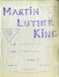 Flyer for Martin Luther King speech at Hill Auditorium, 1962