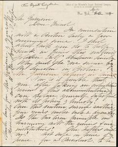 Letter from Elizabeth Cady Stanton, New York, [New York], to William Lloyd Garrison, 1864 April 22
