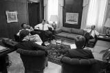 Mayor Richard Arrington talking to several men during a meeting in his office at city hall in Birmingham, Alabama.