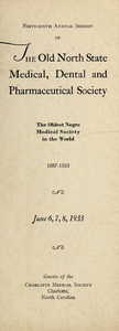 Program of the ... annual session of The Old North State Medical, Dental and Pharmaceutical Society [serial], 46th(1933)