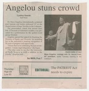 Clipping: Angelou stuns crowd Box 1: Multicultural Center Scrapbooks : Multicultural Center Scrapbook (6), 2003-2004