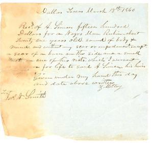 [Receipt to Alexander Simon from Z. Motley for slave, Rubin, 1860]