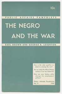 Public Affairs Pamphlets No. 71: The Negro and the War
