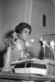Shirley Chisholm speaking at 16th Street Baptist Church in Birmingham, Alabama, during her presidential campaign.