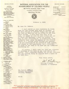 Letter from William Pickens to W. E. B. Du Bois