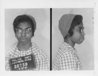 Mississippi State Sovereignty Commission photograph of Geraldine Edwards following her arrest for her participation in a sit-in at a library in Jackson, Mississippi, 1961 March 27